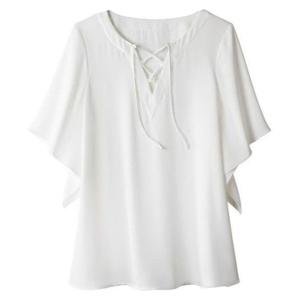 0f6ef4d09 Avon Tops   Laced Neck Line White Blouse   Poshmark